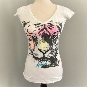 Aeropostale White T-Shirt with Neon Tiger Graphic
